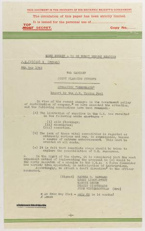 Directive for Operation DESPERATE, a Cabinet War Rooms Typing Pool Spoof, May 1942