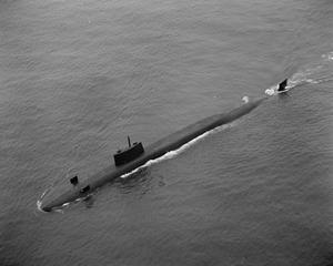 HMS RESOLUTION, BRITAIN'S FIRST POLARIS SUBMARINE. JUNE 1967, DURING SPEED TRIALS AFTER LEAVING VICKERS SHIPYARD, BARROW-IN-FURNESS.
