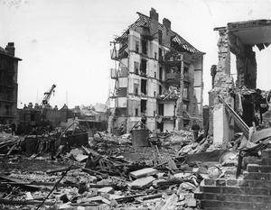 DAMAGE CAUSED BY V2 ROCKET ATTACKS IN BRITAIN, 1945