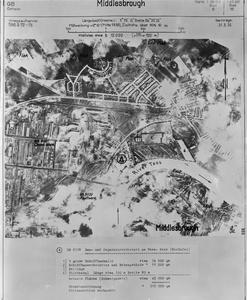 GERMAN AERIAL RECONNAISSANCE VIEW OF BILLINGHAM, GREAT BRITAIN.
