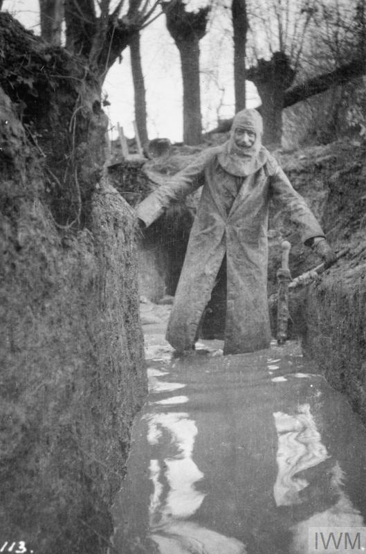 Colonel Philip R. Robertson, commanding officer of the 1st Battalion, Cameronians (Scottish Rifles) returning from a tour of his unit's positions in waterlogged trenches at Bois Grenier in January 1915.