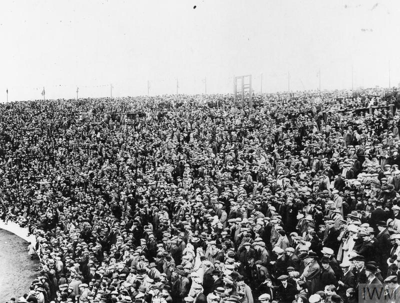 Crowd of spectators at Ibrox Park in Glasgow during the investiture ceremony on 18 September 1917.