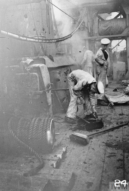 Damage to the deck of HMS Chester sustained during the Battle of Jutland, 1916