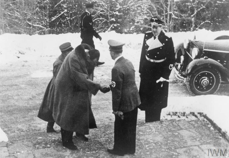 The Polish Foreign Minister, Colonel Józef Beck, is received by Adolf Hitler on his arrival at Obersalzberg.