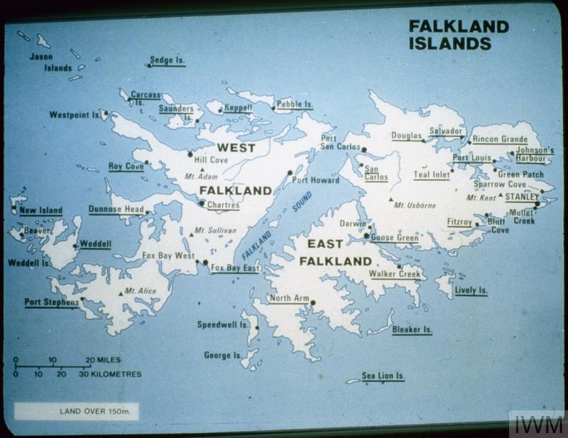 MAP OF THE FALKLAND ISLANDS PHOTOGRAPHS BY BRITISH OFFICIAL