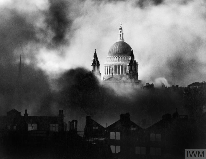 St Paul's Cathedral seen through smoke caused by a bombing raid on London in December 1940.