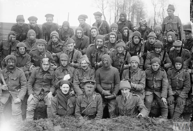 A raiding party of the 1/8th (Irish) King's Liverpool Regiment, 55th Division, at Wailly, France. Photograph taken the morning after a night raid durnig the 17/18th April 1916.