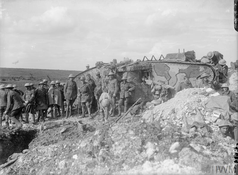 Battle of Flers-Courcelette. A Brigadier and his staff outside Tank 17 of D Company, which was used as his Headquarters. Near Flers, 21st September 1916.