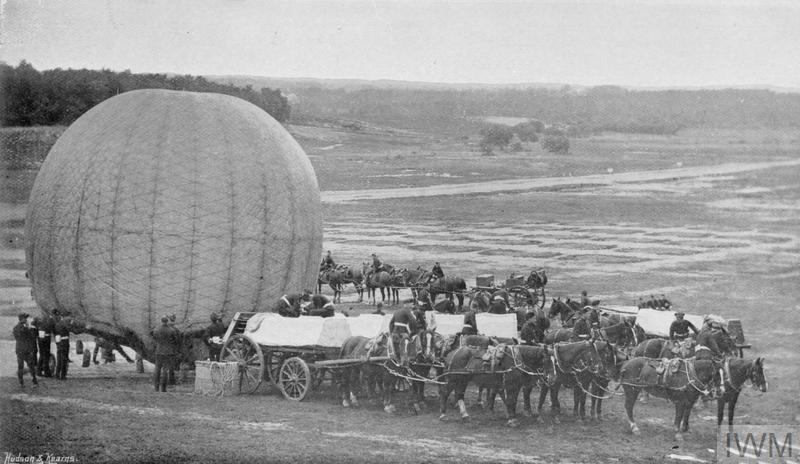 An observation balloon with the horses and equipment required to launch it, The Royal Engineers' School of Ballooning at Farnborough