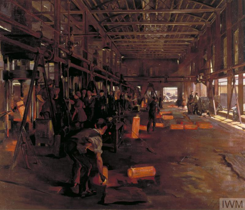 The interior view of a shell forge showing the glowing hot shell cases emerging from the furnaces on the left of the composition. Munitions workers man the furnaces on the left; in the foreground is the back of a worker leaning over a glowing hot shell case. Sunlight streams in though the windowless wall on the right of the forge.