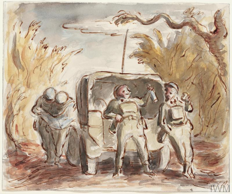 Two soldiers lean against the back of a truck in the forest, drinking from a bottle. There are two other soldiers in the background, reading a map.