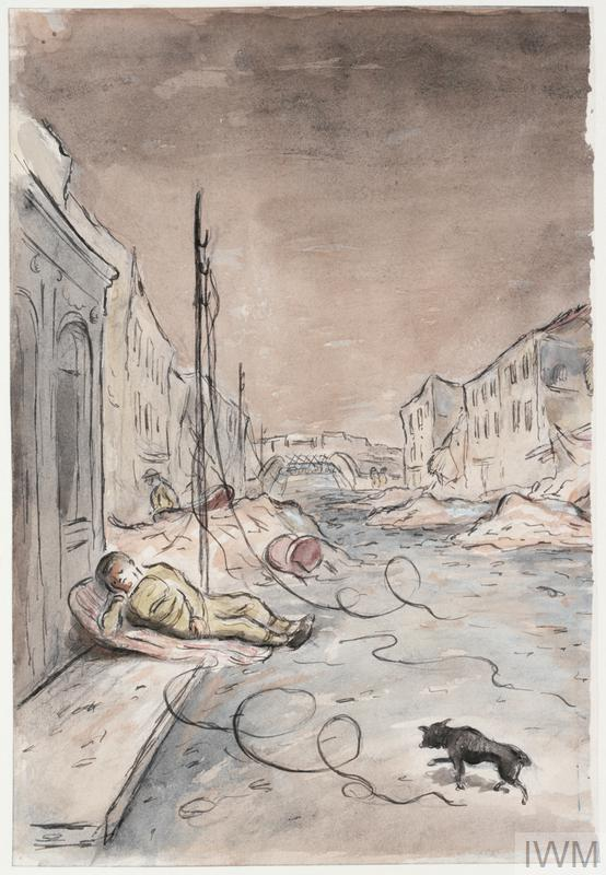 a view along a bomb-shattered street leading to a bridge. There is a small dog lower foreground and a sleeping soldier mid-left of the composition.