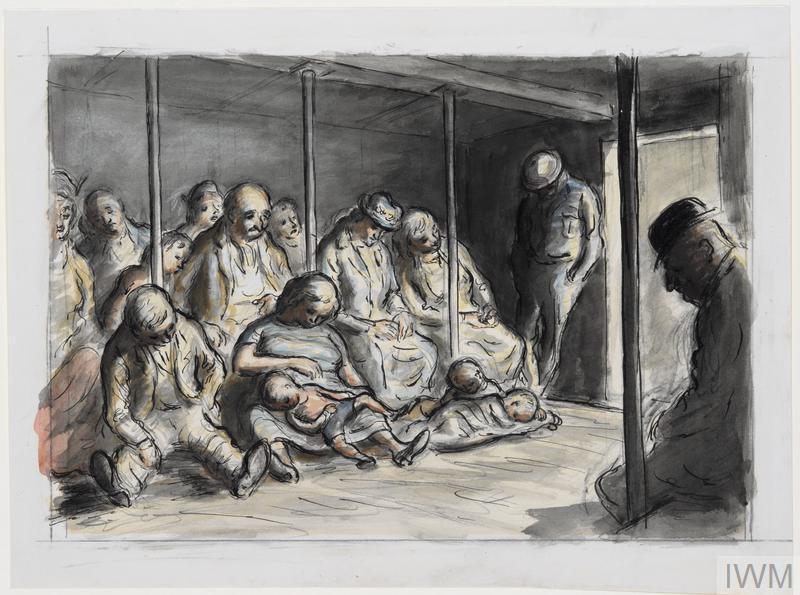 Painting by Edward Ardizzone of men, women and children sleeping in a shelter during the Blitz