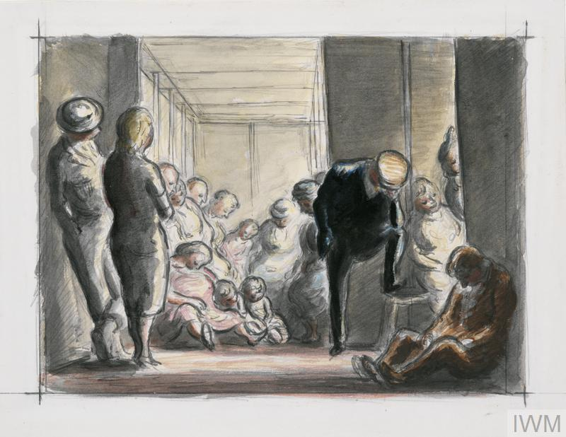 a view of people sleeping in a shelter. Adults and children sit asleep on benches and on the floor. One man wearing a hat stands asleep with one foot on the edge of a bench. In the left corner the warden stands watching the sleepers with a woman who has her back to the viewer.