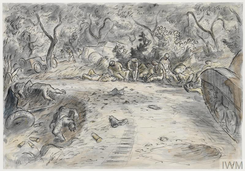a track running through an orchard with a stationary tank on the right. Two bodies lie at the side of the track and the ground is covered in debris. In the centre of the image is a group of injured or exhausted soldiers sitting under a tree