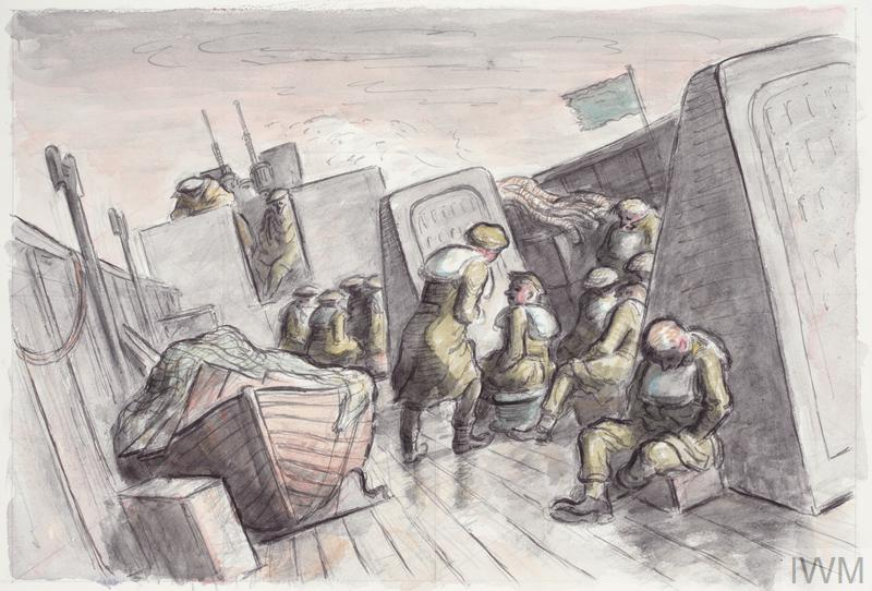 A view of a deck of a ship in a rough sea. Soldiers sit huddled in groups. One sits alone, slumped against a wall looking seasick. A soldier stands in the centre of the deck, leaning to maintain balance while talking to a seated man. On the left side of the deck is a covered wooden lifeboat. A green flag flies above the ship.