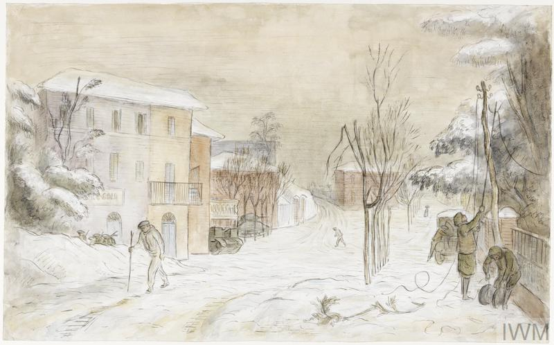 The Front Line Village of Fontanelice with an Officer in a Snow-suit in the Foreground