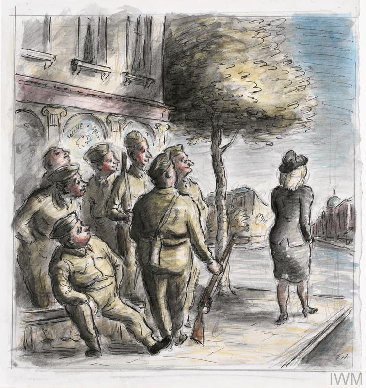 A group of elderly home guards stand outside a pub watching a blonde girl wearing a black suit walk by.