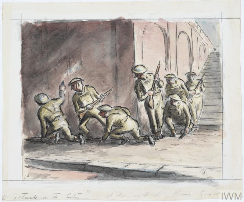 A group of home guards sneaking around a corner at the bottom of a flight of steps, holding their rifles with caution. Their leader is kneeling, holding a smoking canister in the air.