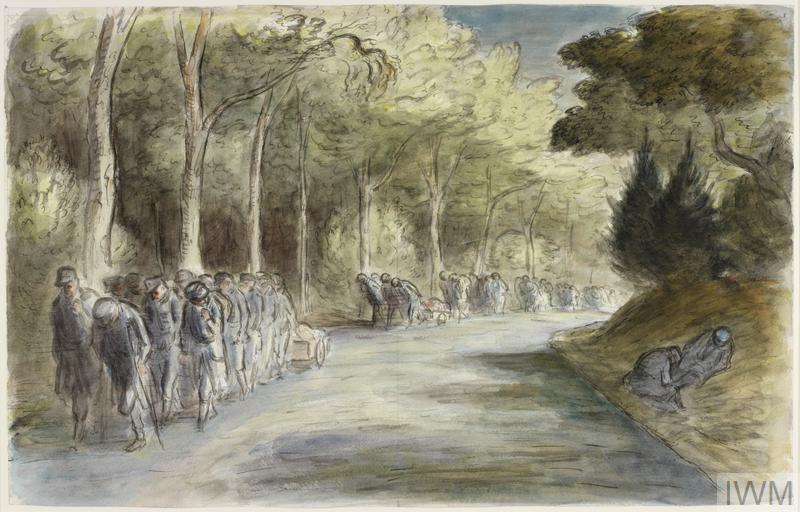 a view down a tree lined road in Germany, with a column of defeated and injured German soldiers walking towards the viewer. Some of the men drag wheeled carts of belongings with them and there is an air of dejection about the scene. Two German soldiers rest in the ditch to the right of the road.