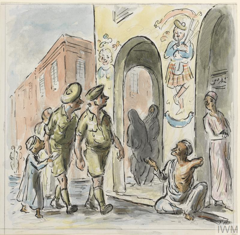 a street scene with arched entrances to a yellow arcade in the right foreground. At the foot of one of the columns a one armed beggar sits holding out his hand to two passing soldiers. To the left a small boy is trying to sell them postcards. Through one of the arches can be seen two black-robed Arab women. A mural of a kilted bagpipe-playing Scot is on the wall.
