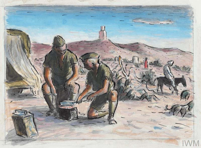 Two soldiers are kneeling around a contained fire cooking some food. In the background there is man on a donkey and another figure in red crossing a sandy landcscape. In the distance there is a water tower on a hill.