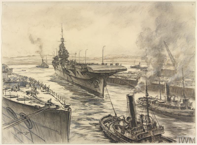 HMS Illustrious entering the Basin at John Brown's Shipyard, Clydebank