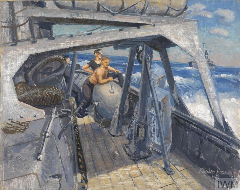 On Board a Minesweeper : engine-room men take a breath of fresh air