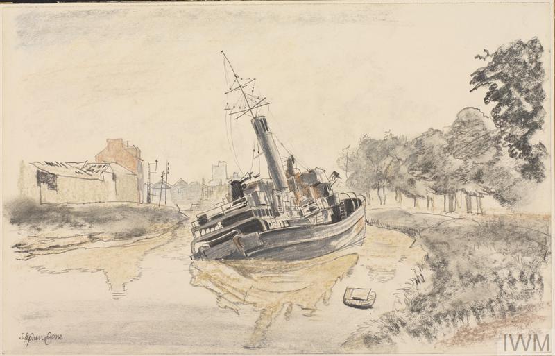 Caen : German 'Flak' ship in the canal