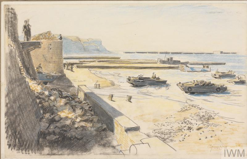 Two soldiers watch from the seafront while amphibious vehicles drive in and out of the sea via a slipway leading down to the beach.