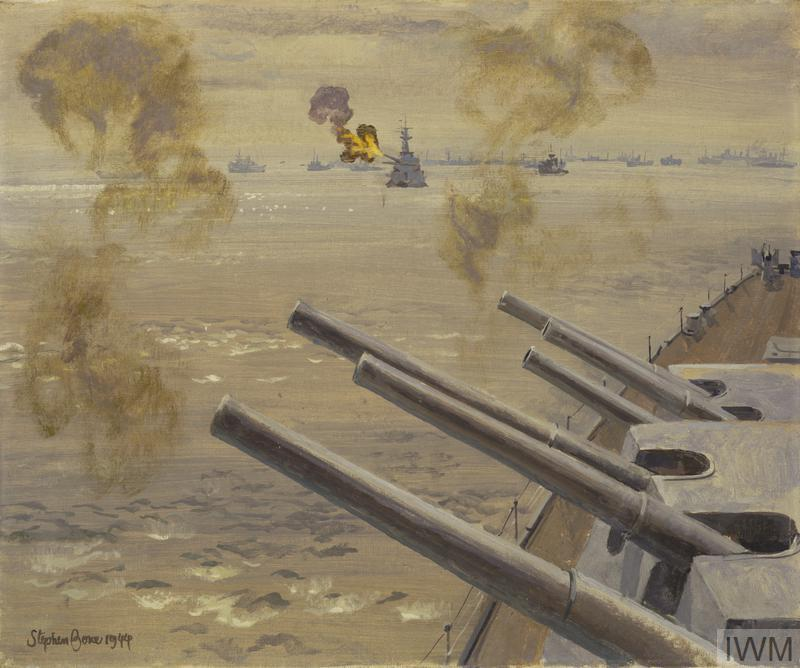 HMS Mauritius and HMS Roberts Bombarding Targets near Caen : 18th July 1944