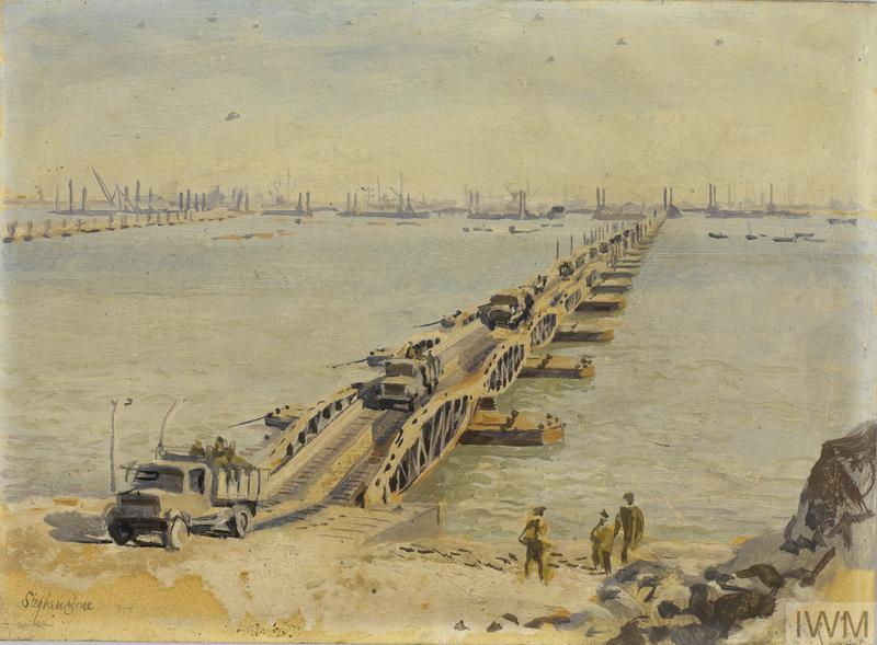 a view from the beach, looking out to sea across a Mulberry Harbour with army vehicles driving ashore along the roadway.