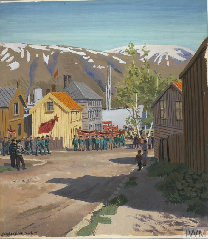 Tromsö : 22nd June 1945. Russian ex-prisoners marching to the Murmansk ship