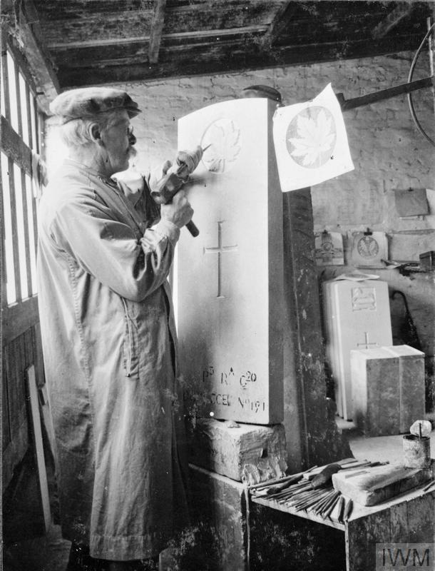 A stonemason engraving a headstone destined for the grave of a Canadian casualty of the First World War.