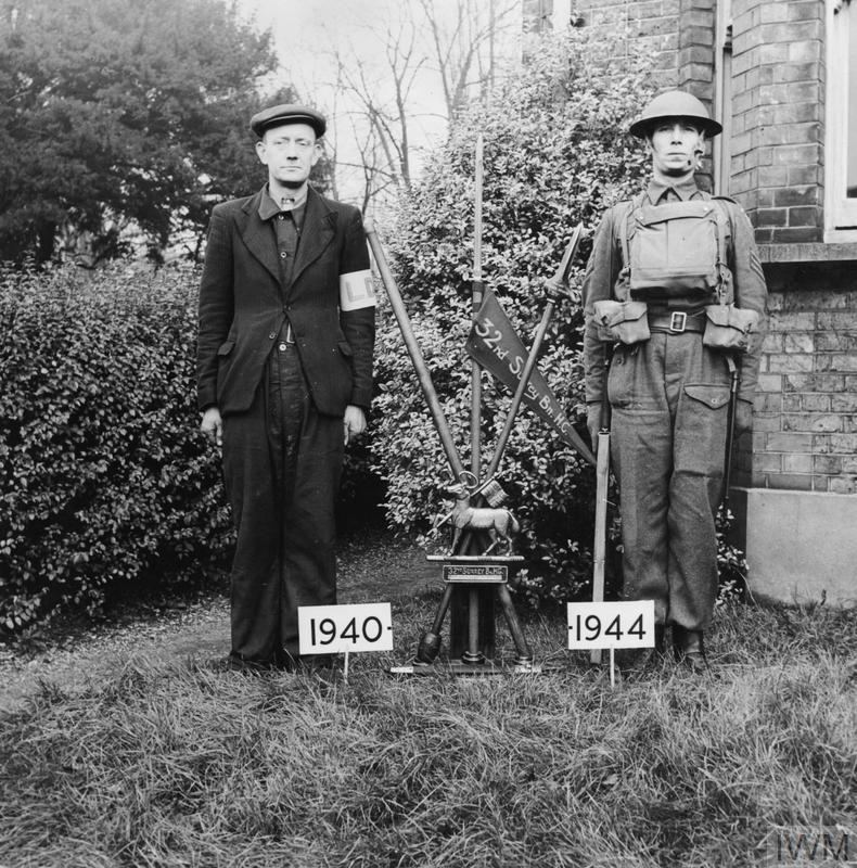 The Home Guard: Photograph contrasting a 1940 Local Defence volunteer with a 1944 Home Guard. Both were members of 32 Surrey Battalion.