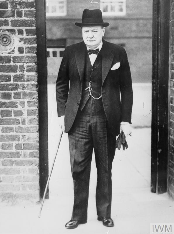 Winston Churchill at 10 Downing Street, London for the 8am Cabinet meeting, called following the German invasion of Holland, Belgium and Luxembourg.