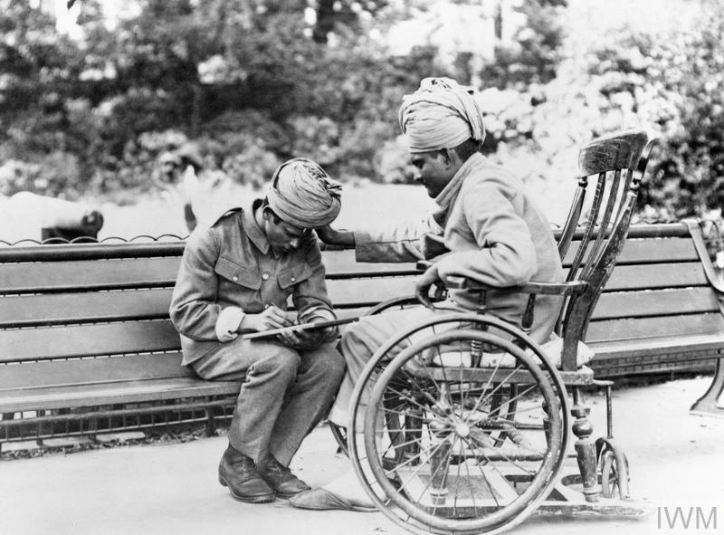 Wounded Indian soldiers at the Royal Pavilion in Brighton, used as a hospital for Indian soldiers during the First World War.