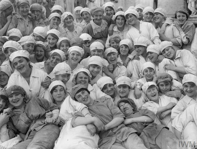 A group of female workers at the flour mills of Rank & Sons, Birkenhead, Lancashire.
