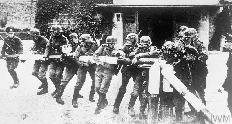 German troops breaking the border barrier in the Polish town of Sopot (Zoppot) on the morning of 1 September 1939. The Soviet invasion would follow on 17 September.