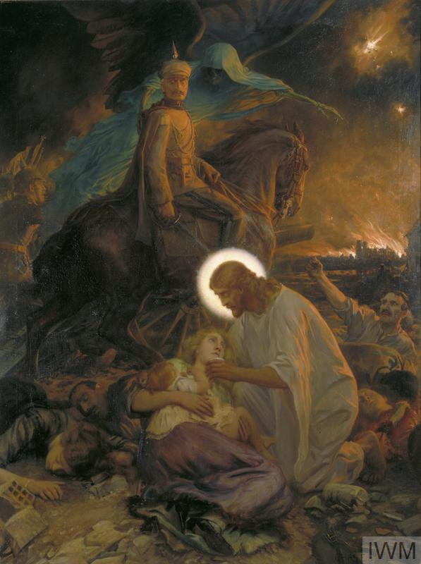 In the foreground Christ nurses a dying woman who holds a child. Above them is Kaiser Wilhelm seated on horseback with the Angel of Death at his shoulder. There are German troops behing him. The Kaiser has a haunted but defiant expression, immune to the chaos around him. Bodies litter the ground and a dying man raises his fist to the Kaiser. Fires rage in a Belgian town, presumably Louvain, a church burns and a flare lights the sky.