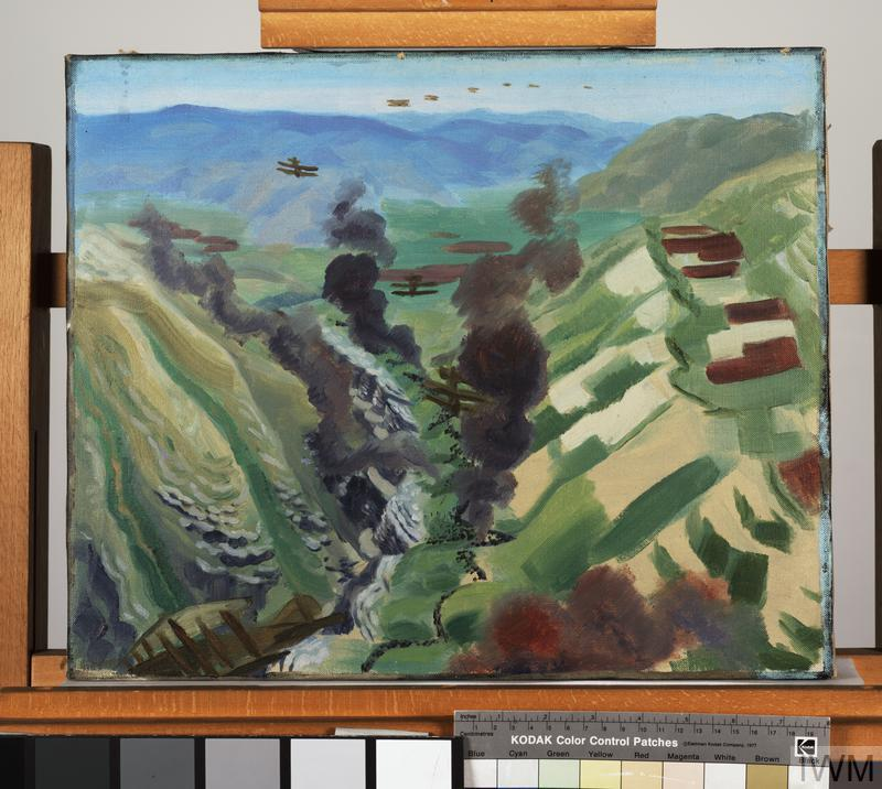 Study for 'The Destruction of the Turkish Transport - In the gorge of the Wadi Fara, Palestine', 1920 ( IWM ART 3138)