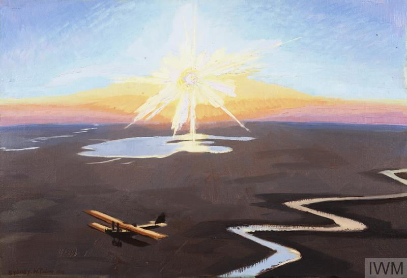 An unnaturally bright sun blazes over a landscape with a river. There is an aircraft flying over the desert in the lower right of the composition.