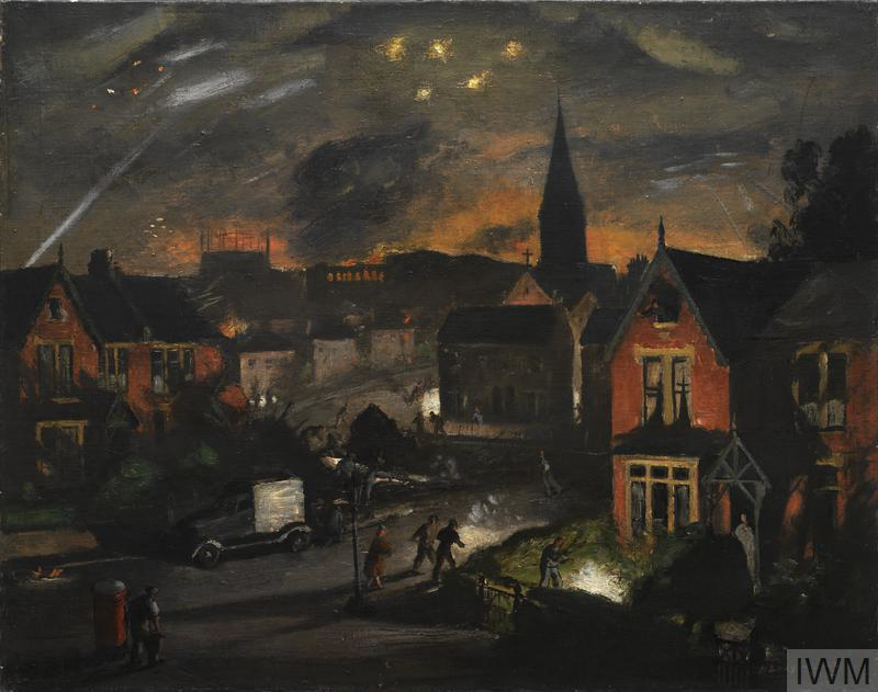 A night scene showing an incendiary air-raid with explosions in the sky and fire raging in the distance. A group of civilians are putting out two incendiaries in their front garden. A team of workers surround a fallen tree, someone leans out from the top window of one of the houses.