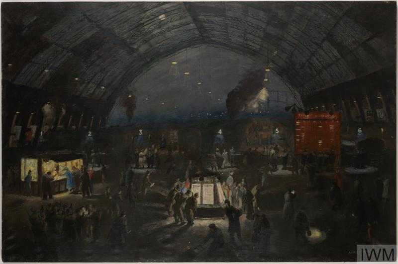 Painting of a railway station during the Blitz with soldiers in uniforms mixing with civilians