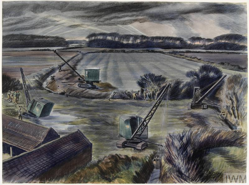 a rural scene with women of the Women's Land Army working on land drainage. Four cranes are being used to create and maintain a series of drainage ditches filled with water. One of these cranes to the left has sunk into a water-logged patch of ground and is being dragged out with a pulley controlled by a group of WLA workers. The horizon is lined by trees and there are some farm buildings in the left foreground.