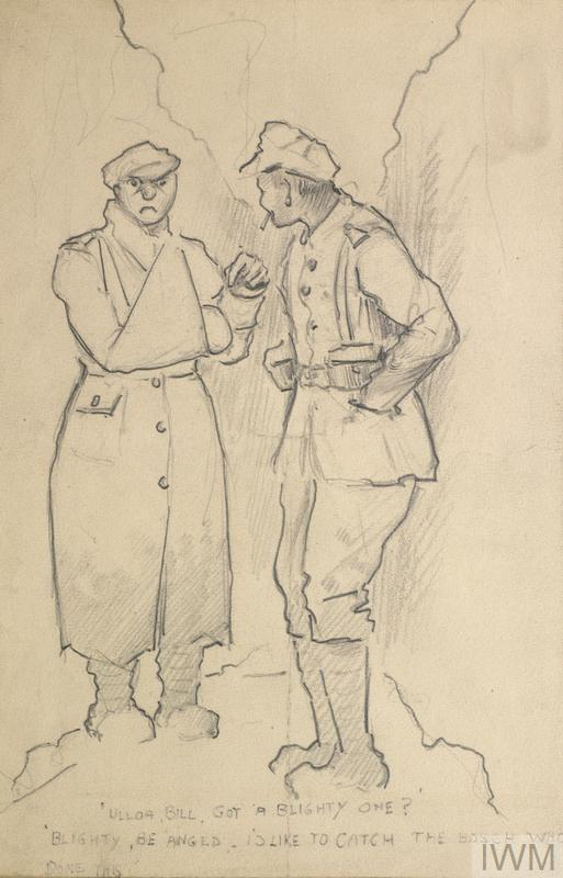 Two British soldiers stand talking in a narrow trench. One is wearing an overcoat and is pointing angrily at his arm which is in a sling.