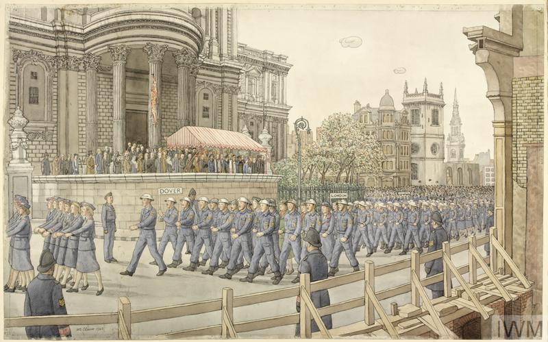 Civil Defence Day - 15th November 1942 : At the south door of St Paul's Cathedral. The march past of representatives of all Civil Defence Services.