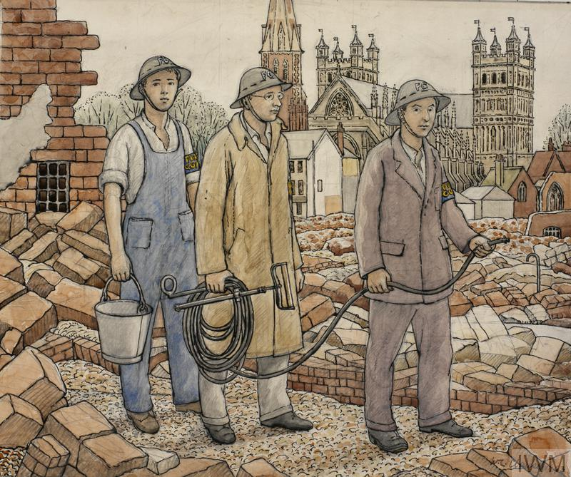 Three Fire Guards wearing helmets. Two are holding a hose between them, the third is holding a bucket. They are standing in the rubble of a bombed building with Exeter cathedral in the background.