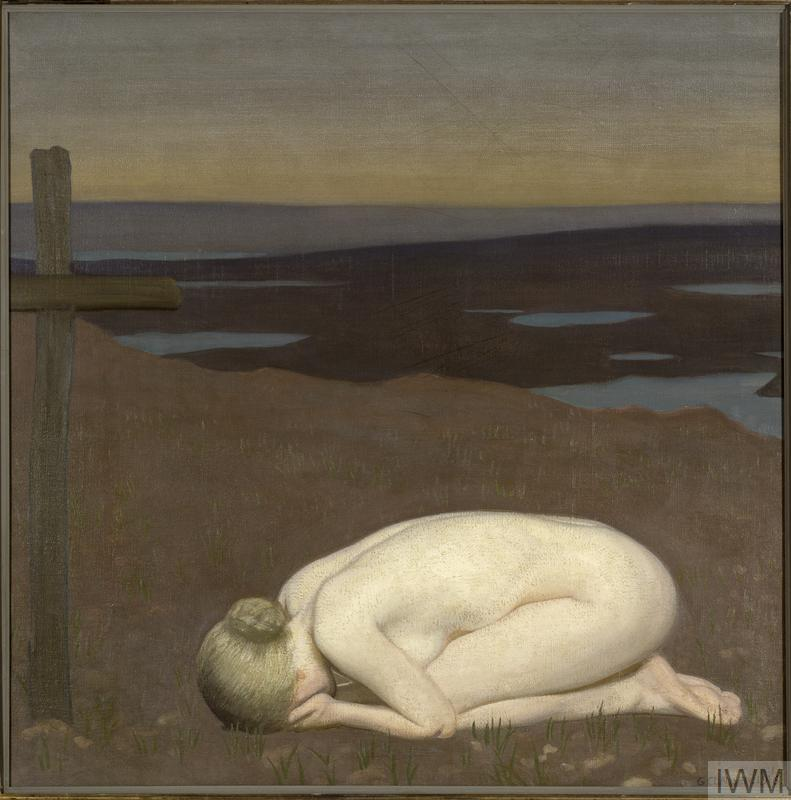 A naked young woman, personifying Youth, kneels in a grief-stricken attitude before a wooden cross marking a grave. In the distance are the flooded craters of a battlefield.