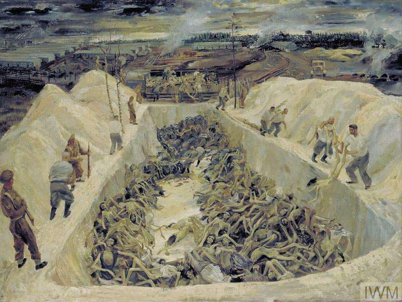 One of the Death Pits, Belsen. SS guards collecting bodies, 1945, Leslie Cole